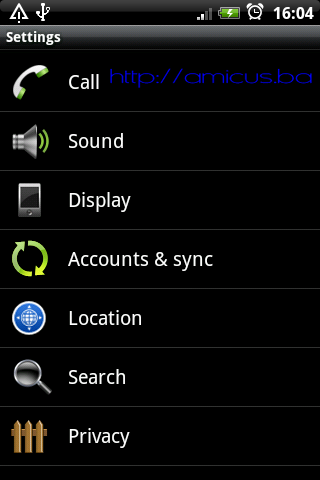 Settings - Accounts & sync