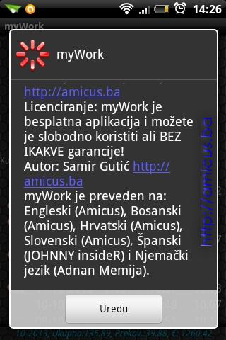 O aplikaciji myWork