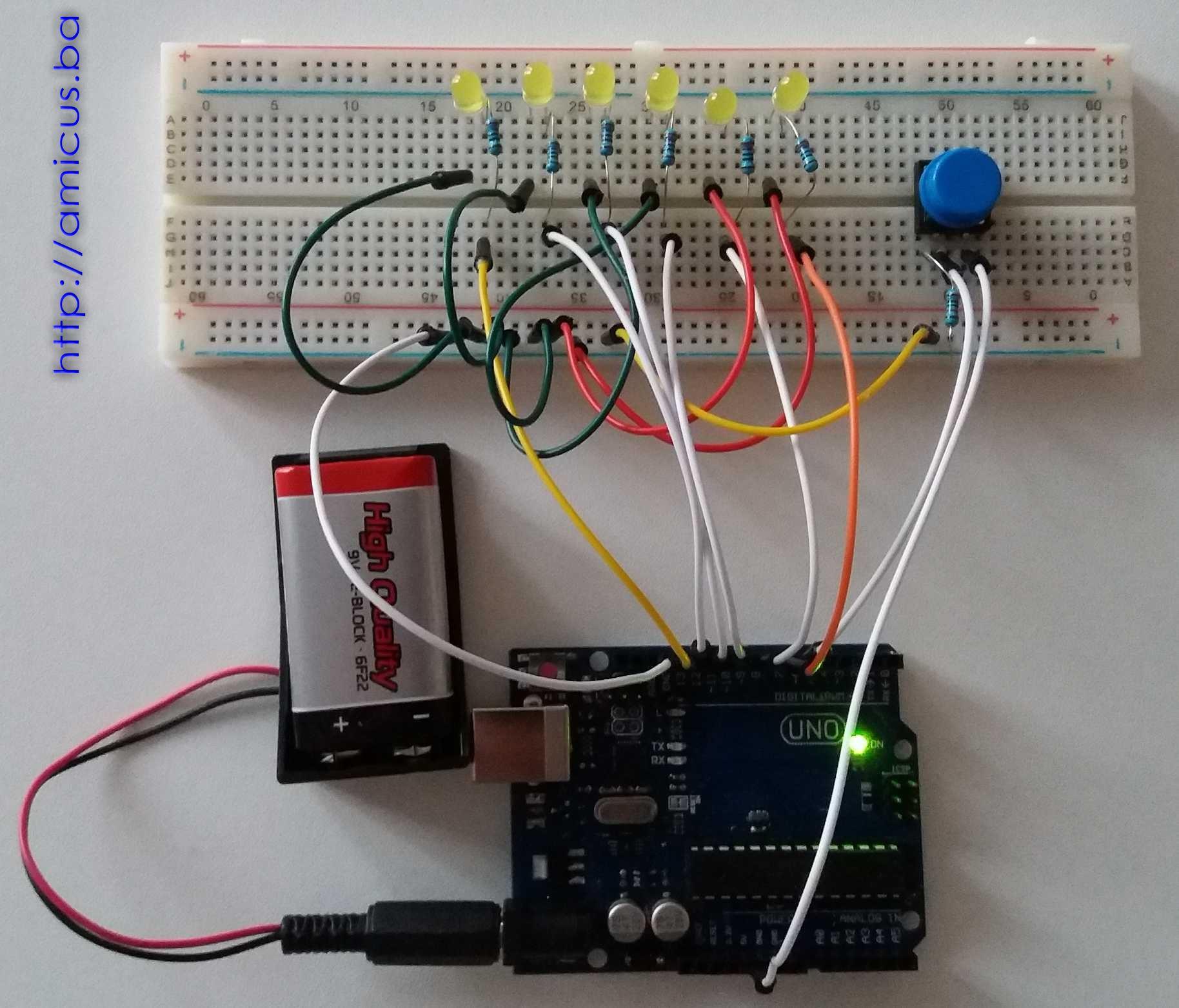 6 dioda u nizu sa dugmetom