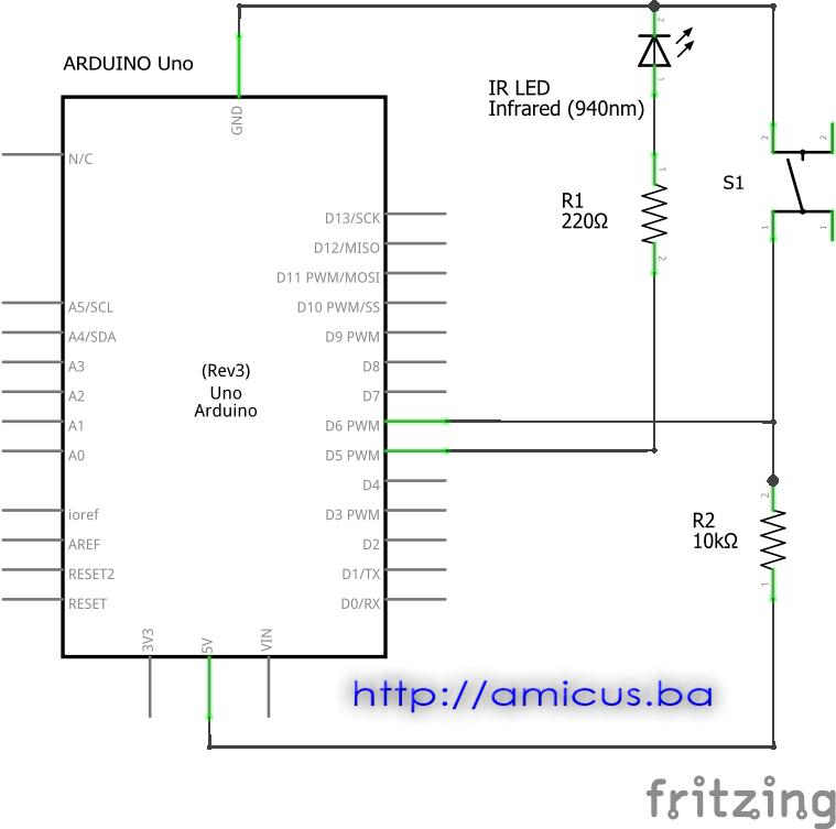 Arduino IR daljinski - električna šema