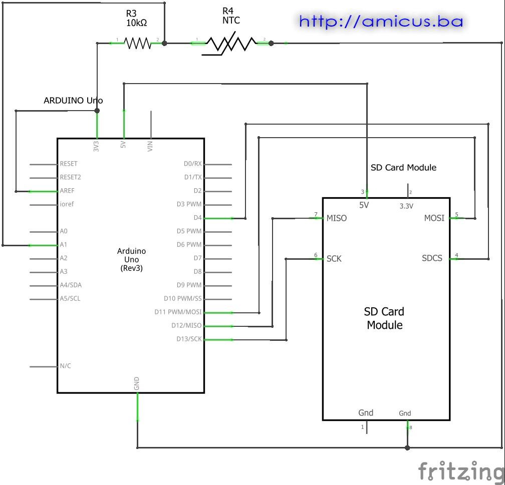 Arduino termometar sa termistorom u  AREF spoju i upis na SD karticu - električna šema