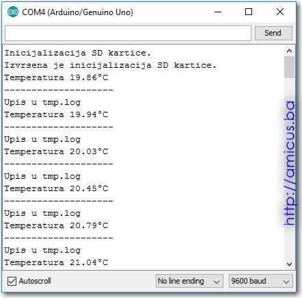Termistor termometar AREF SD kartica - serial monitor