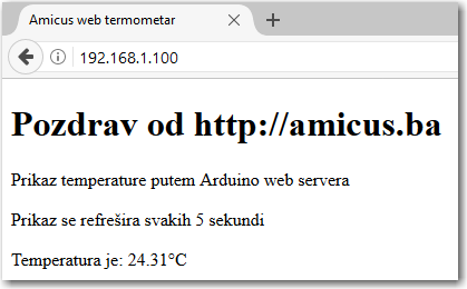 Arduino web termometar - screenshot sa PC-a