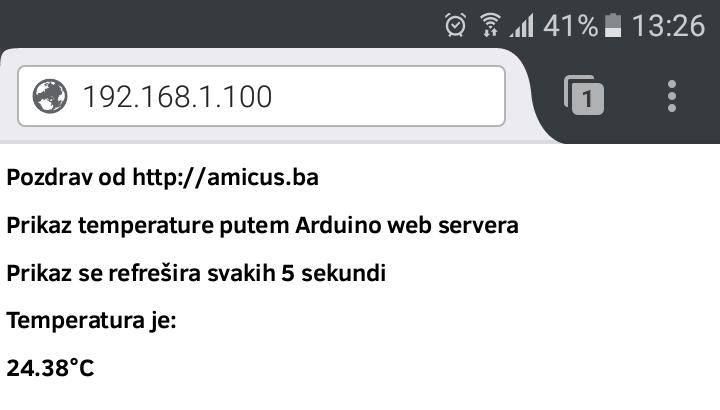Arduino web termometar - screenshot sa mobitela