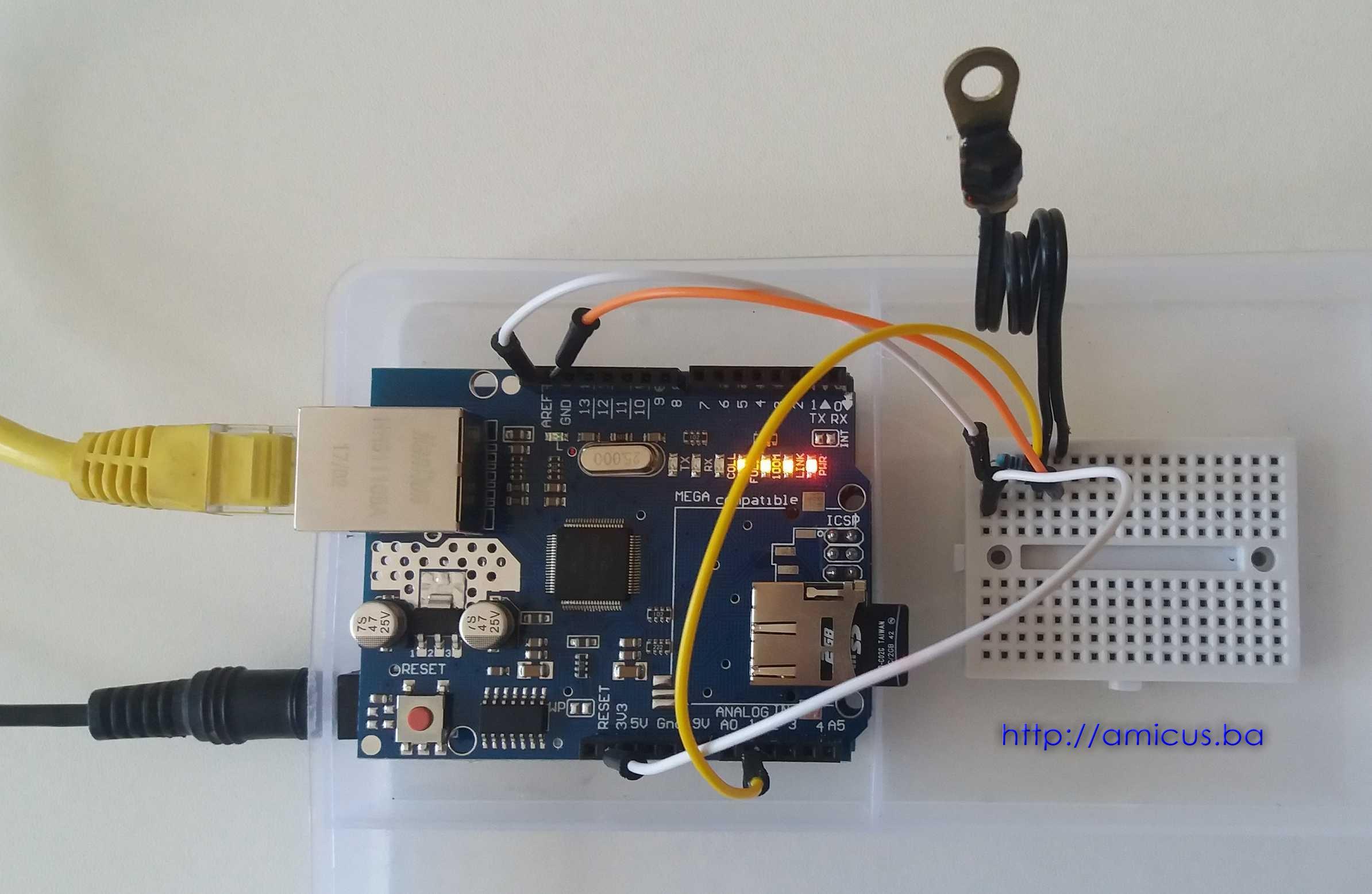 Termistor termometar AREF web server