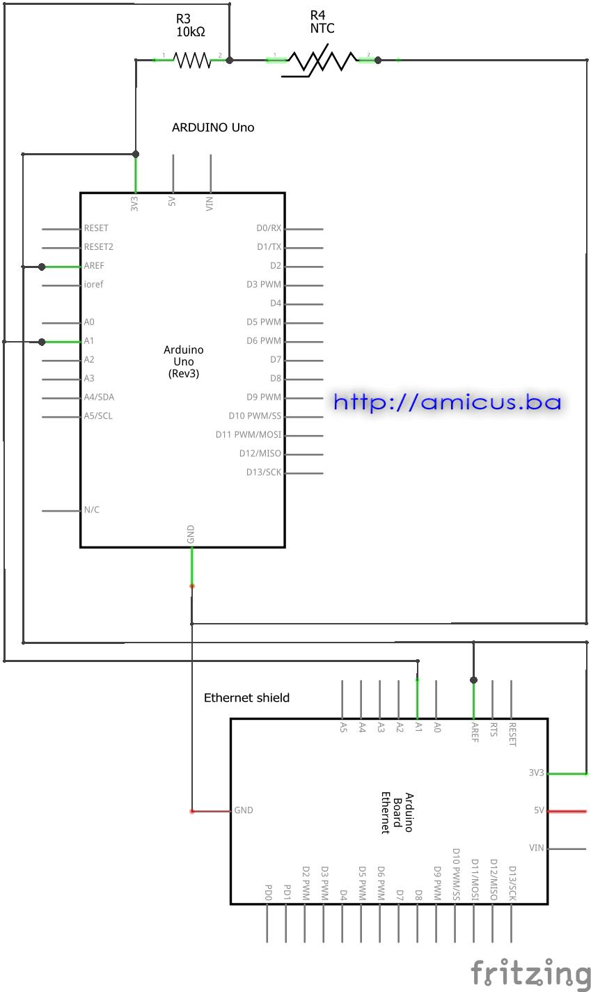 Termistor termometar AREF web server - električna šema