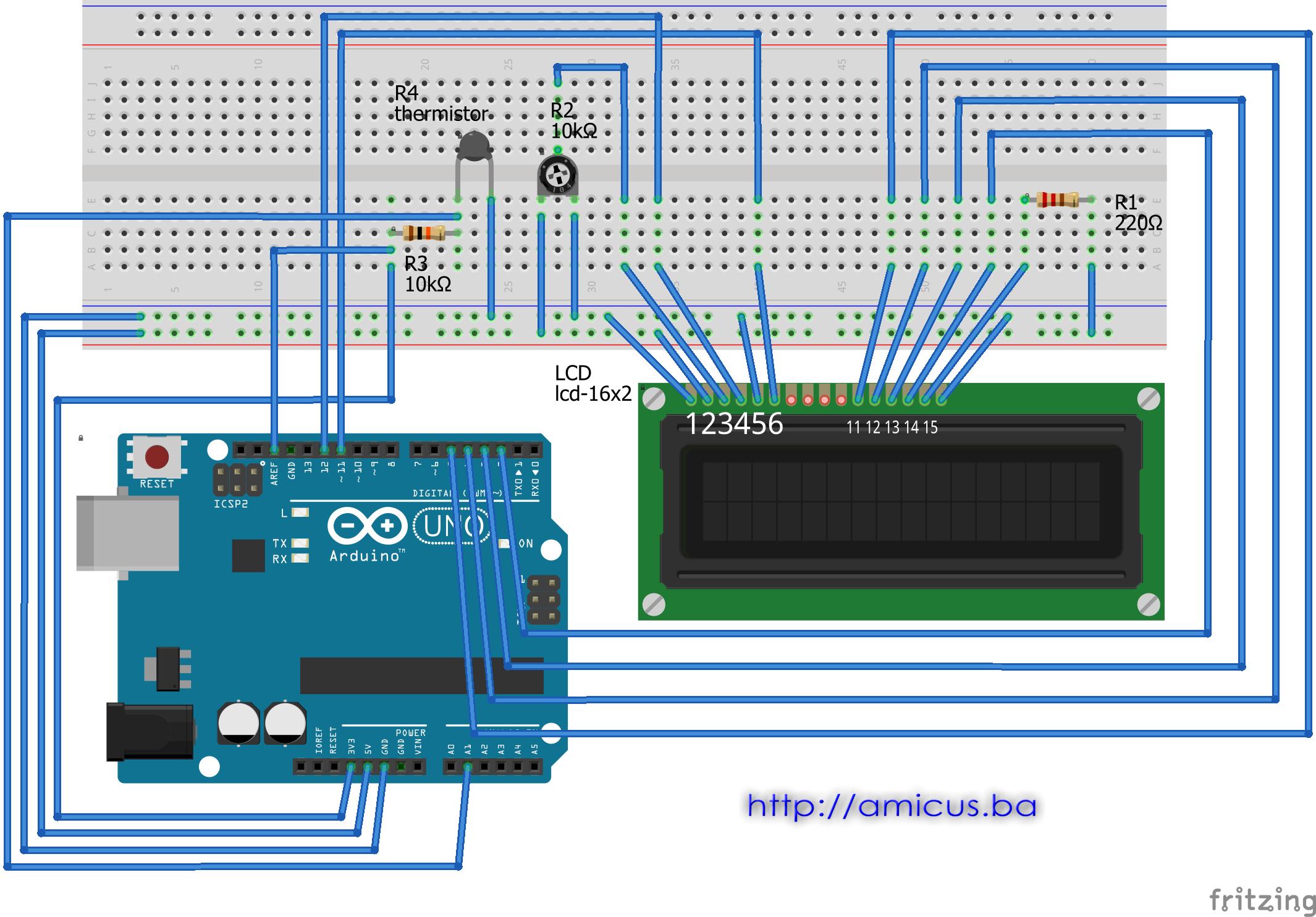 Termistor termometar AREF LCD - breadboard