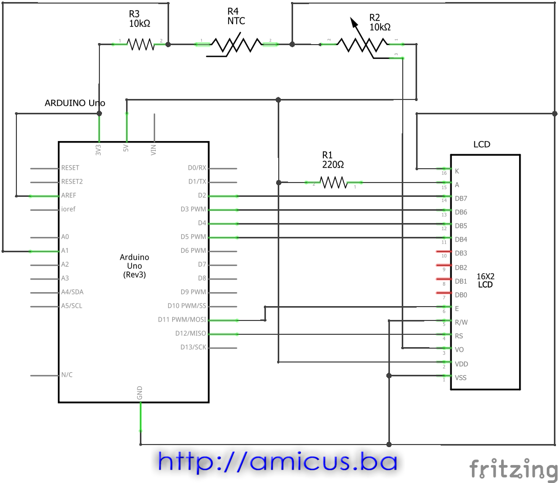 Termistor termometar AREF LCD  - električna šema