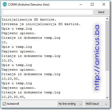 Upis i čitanje sa SD kartice - serial monitor