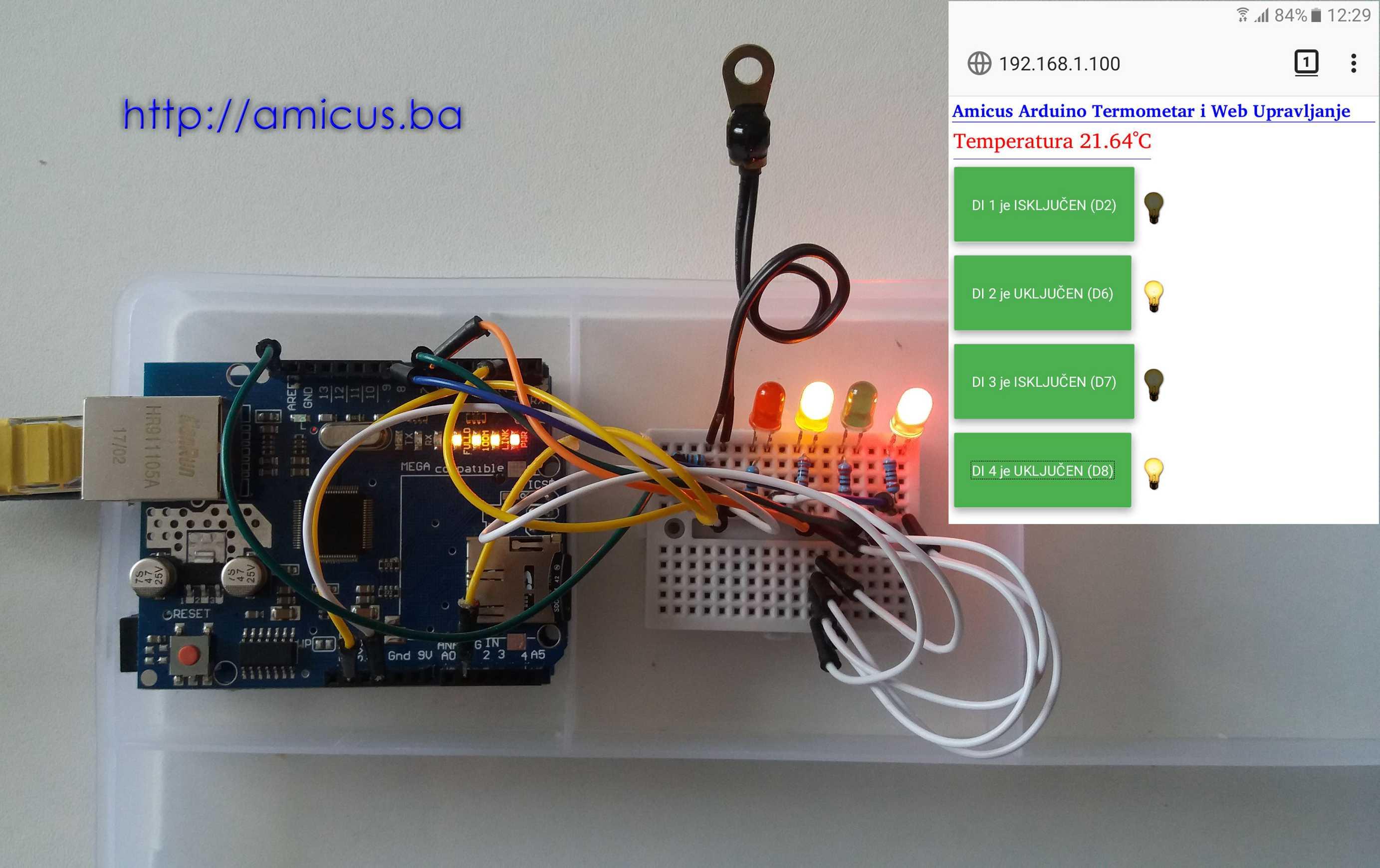 Web upravljanje i termometar
