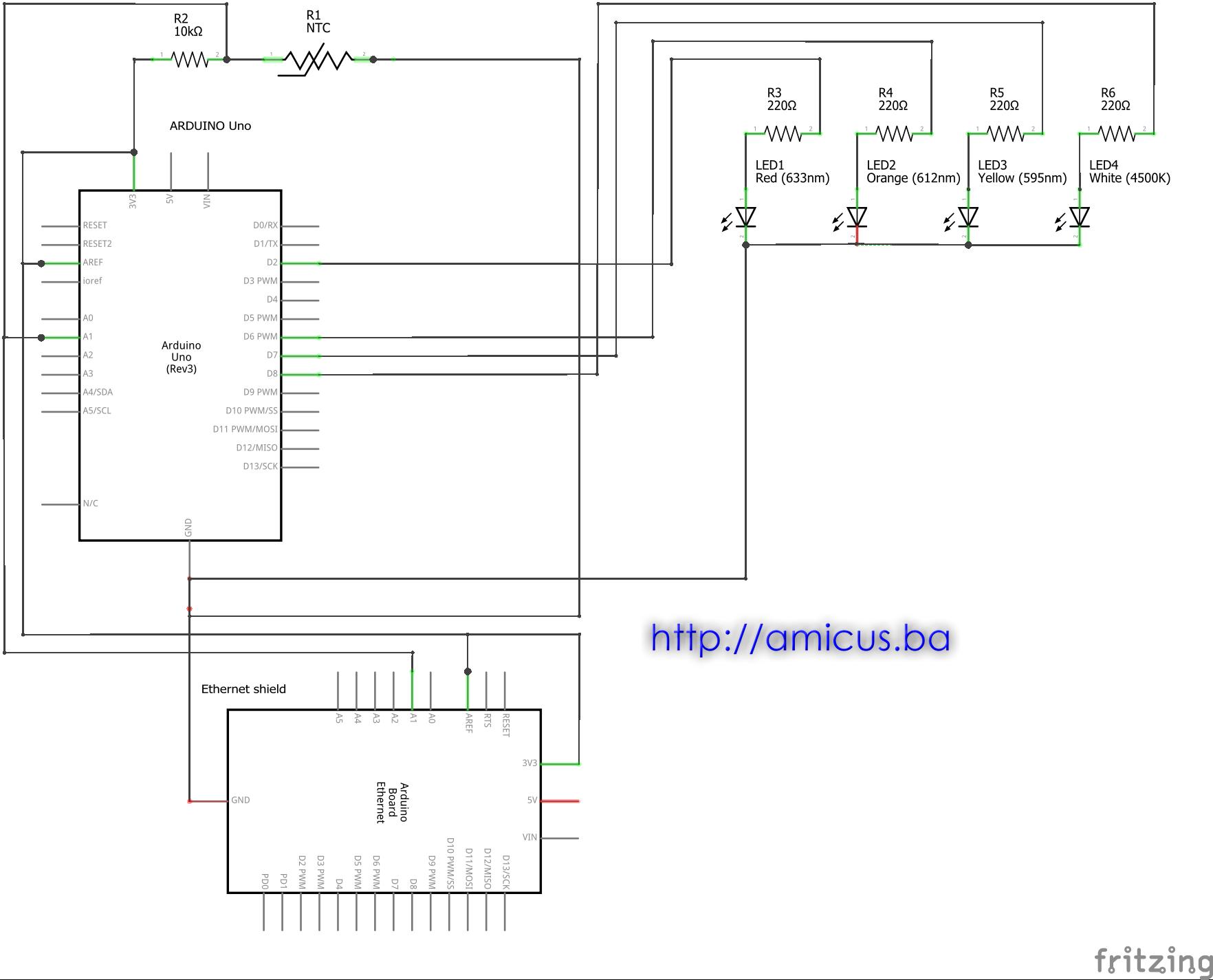 Termometar sa web serverom i upravljanje sa  4 izlaza - električna šema