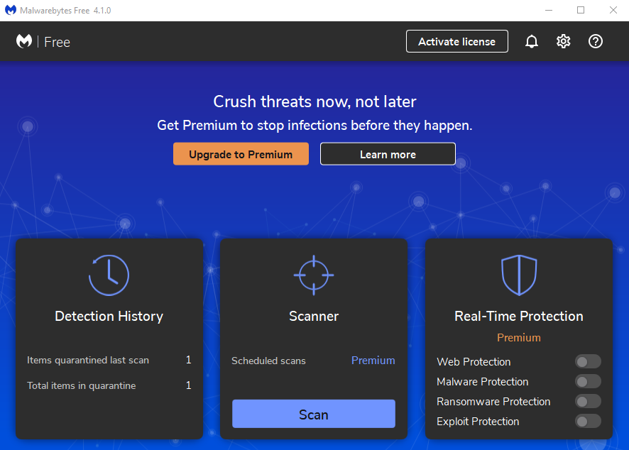 Malwarebytes Anti-Malware dashboard