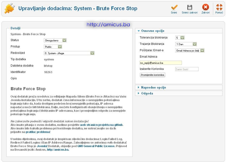 Brute force stop plugin konfiguracija