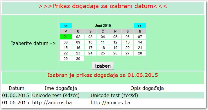 PHP kalendar