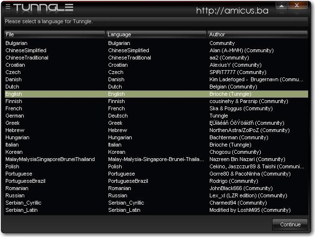 Izbor jezika za Tunngle