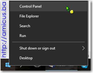 Start, control panel