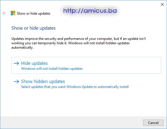 Sakrij ili prikaži update-a 3