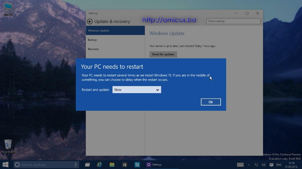 Restart nakon update-a Windows 10