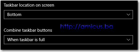 Nova taskbar podešenja