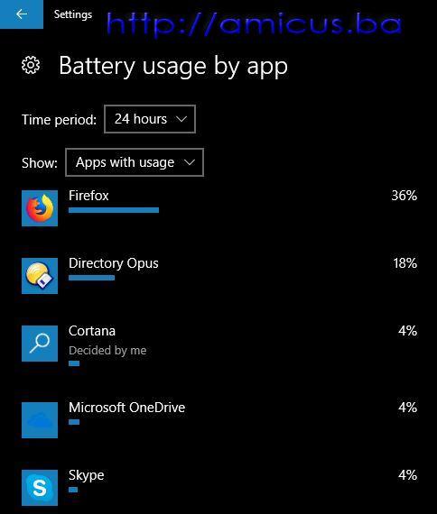 Upotreba baterije