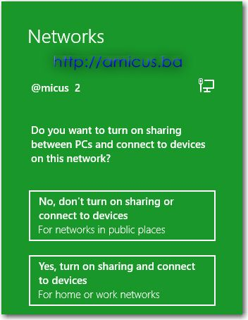 Networks sidebar u Windows 8